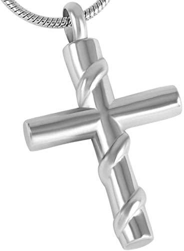 VVHN Damen Halskette Grau Kette Kreuz Anhänger Knochenmehl Asche Memorial...