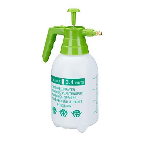 Relaxdays, weiß/grün Drucksprüher, 1,5 Liter, einstellbare Messingdüse,...