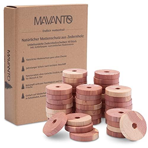 MAVANTO® 48x Effektiver Zedernholz Mottenschutz für Kleiderschrank &...