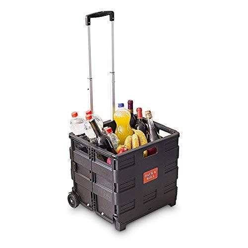 Relaxdays Einkaufstrolley, Klappbar, Einkaufsroller bis 35 kg, Verstellbarer...