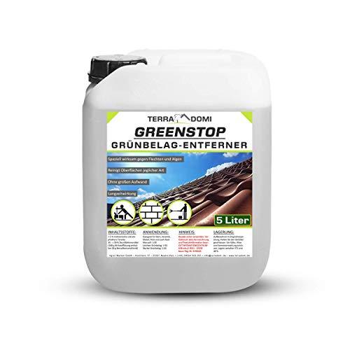 TerraDomi 5 Liter Greenstop für 1500m² I Grünbelagentferner gegen Moos,...