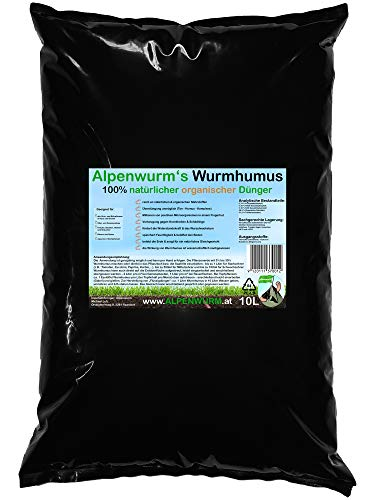 Alpenwurm Wurmhumus 10L | Wurmkompost pur | organischer Dünger | Bio Dünger