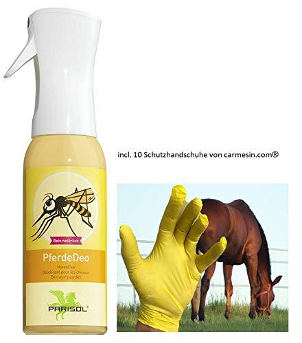 Parisol PferdeDeo 500ml Fliegenspray -Bundle incl. Carmesin.com 10 Handschuhe -