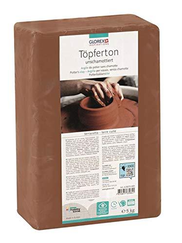 Glorex 6 8073 005 - Töpferton unschamottiert, 5 kg in terracotta, geschmeidig...