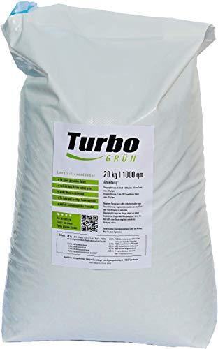 Turbogrün Rasendünger 20kg mit 3 Monate Langzeit-Wirkung, Dünger gegen Moos,...