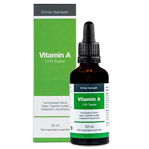 Vitamin A Tropfen von EXVital Vitahealth - 5000 I.E (1500 µg) pro Tagesdosis,...