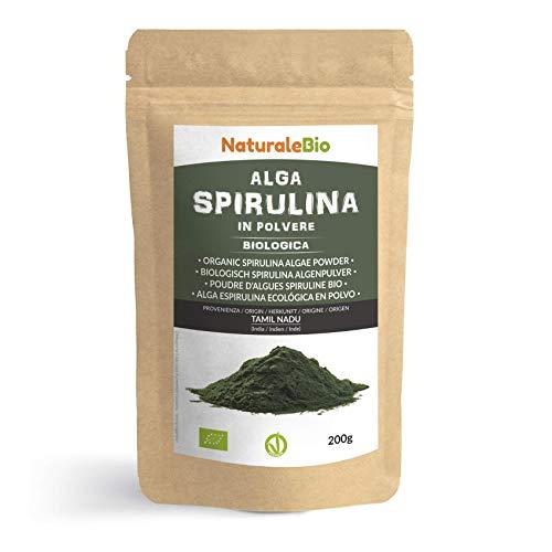 Spirulina Algenpulver Bio 200g. Organic Raw Spirulina Alga Powder. 100% Vegan,...