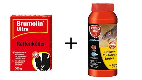 SBM 500g Bromulin Ultra + 500g Rodicum Ratten Portionsköder