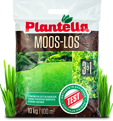 Plantella Moos-los 3-in-1 Rasendünger mit Moosvernichter, 10 kg | lüftet,...