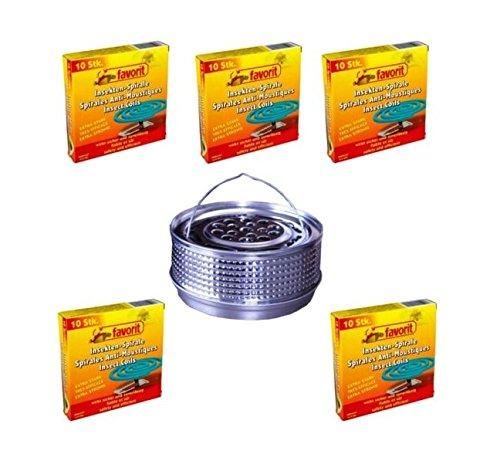 Hs24store 50 Insektenspiralen Anti Mücken Spirale und Metalltopf Metallhalter...