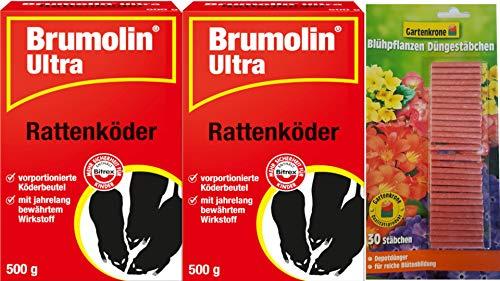 Brumolin 2 X 500g Ultra Rattenköder mit Gratis Düngestäbchen Gartenkrone