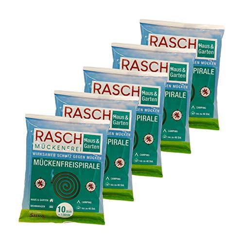 Rasch Mückenfreispirale- 5 x 10 Stück Spar-Set - Gegen Mücken im...