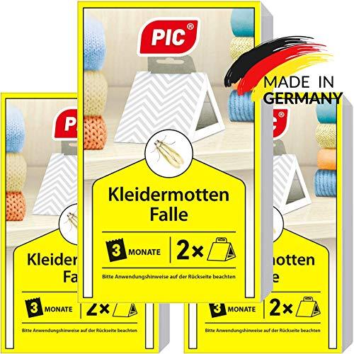 PIC Kleider-mottenfalle – Dreierpack = 6 Stück – Mittel gegen...