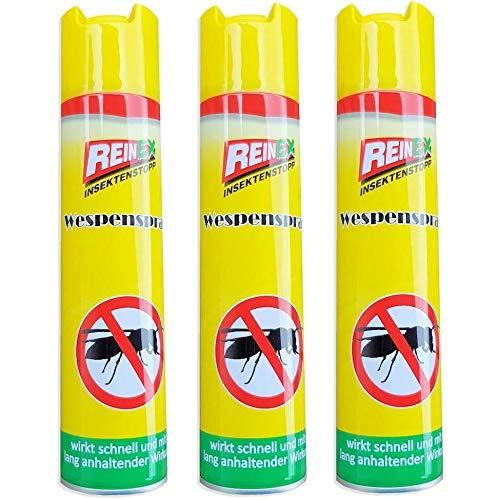 Reinex 3 x Wespenspray Wespenabwehr Wespenschutz Insektenstopp mit Sofort- und...