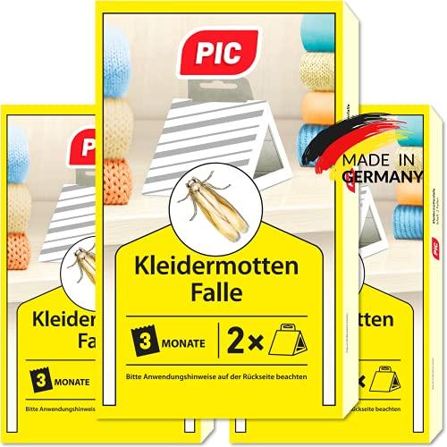 PIC Kleidermotten-Falle – Dreierpack = 6 Stück – Mittel für Kleidermotten,...