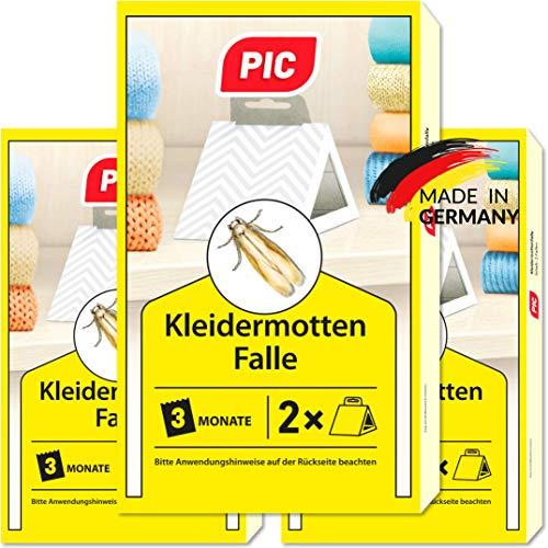 PIC Kleidermottenfalle - Dreierpack = 6 Stück - Mittel gegen Kleidermotten,...