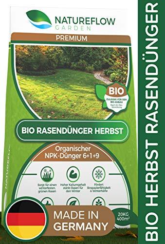 Natureflow Premium Organischer Herbstrasendünger - 20kg Bio Rasendünger Herbst...
