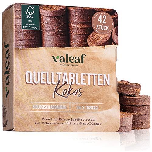 valeaf Kokos Quelltabletten 42 STK mit Nährstoffen I torffreie Kokoserde...