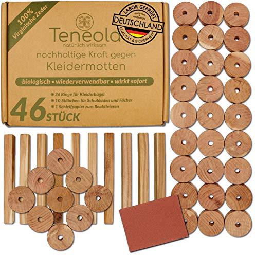 Teneola 46 Stck Bio Mottenschutz aus Zedernholz Ringe & Stäbe Mottenschutz für...