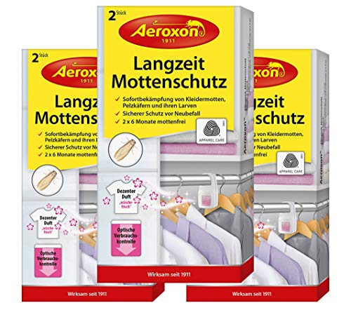 Aeroxon Mottenschutz-Hänger mit Duft - 3x2 Stück - Verlässliche, Starke und...