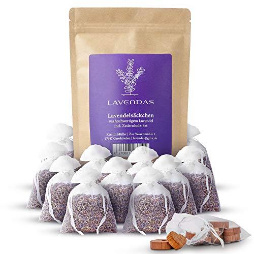 Lavendas 10 x Lavendelsäckchen & Zedernholz Set | Duft für Kleiderschrank |...