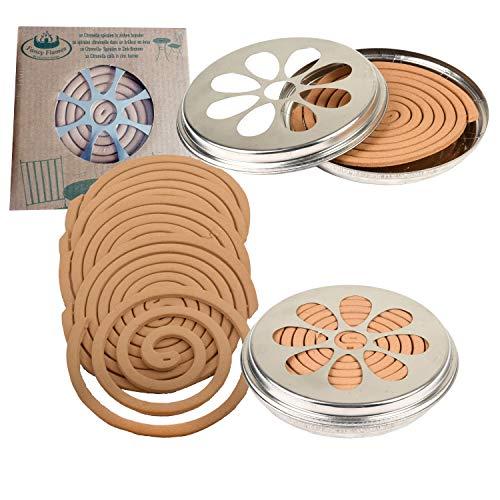 Esschert Design 2 x 10 Citronella Rauchspiralen mit Halter Citronella-Duft