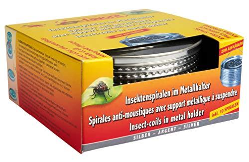 Favorit Mückenspirale + Metalltopf, silber – Insektenschutz Wirkzeit ca. 5...