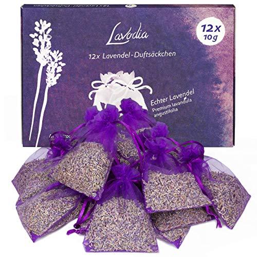LAVODIA 12x Lavendelsäckchen mit Lavendelblüten, Mottenschutz gegen Motten im...