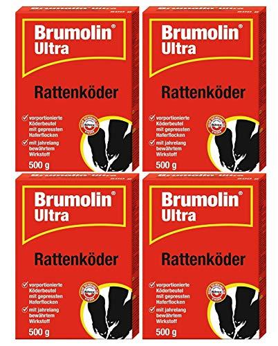 Brumolin Ultra Rattenköder 4x500 gr, Rattengift, Rattenportionsköder,...