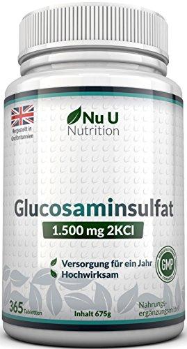 Glucosamin Sulfat 1.500mg 2KCI, 365 Tabletten Glucosamin (Versorgung für ein...