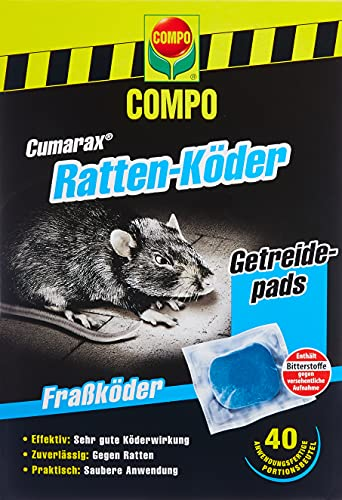 Compo Cumarax Ratten-Köder, Getreidepads, Fraßköder für Köderboxen, 40...