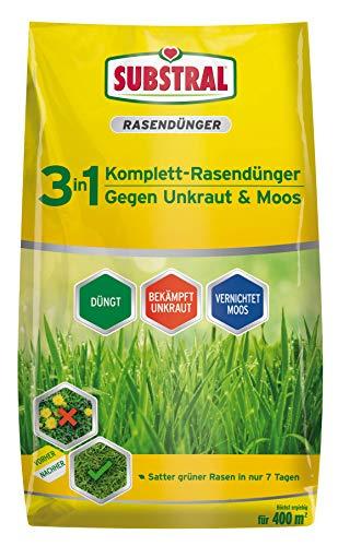 Substral 3 in 1 Komplett Rasendünger mit Unkrautvernichter und Moosvernichter,...