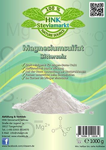 Bittersalz Magnesiumsulfat 1kg - natürliche Hilfe beim Fasten und Heilfasten -...
