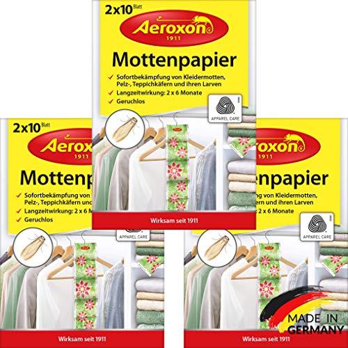 Aeroxon - Mottenpapier - 3x20 Stück - gegen Motten, Käfer und Larven -...