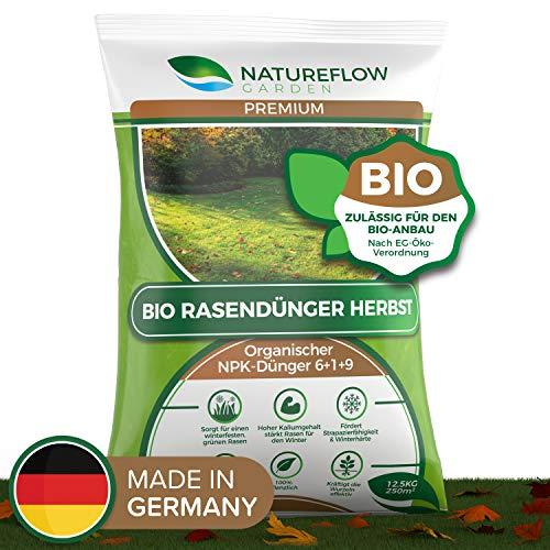 Natureflow Premium Organischer Herbstrasendünger - 12,5kg Bio Rasendünger...