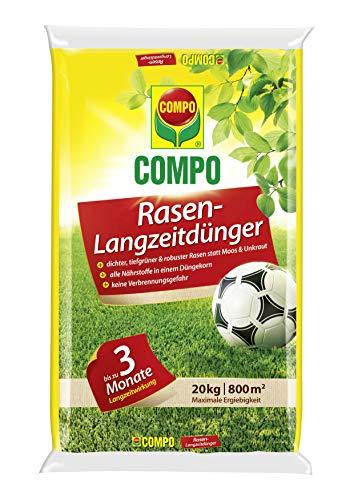 COMPO Rasen-Langzeitdünger, 3 Monate Langzeitwirkung, Feingranulat, 20 kg, 800...