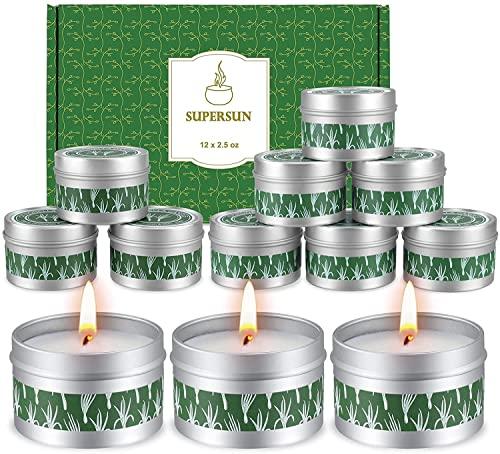 Supersun 12 Stück Citronella Kerze Outdoor Kerzen Draußen, 15Std*12 Zitronell...