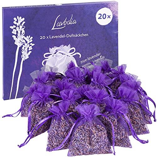 20x Lavendelsäckchen mit Premium Lavendelblüten von Lavodia, zum Mottenschutz...
