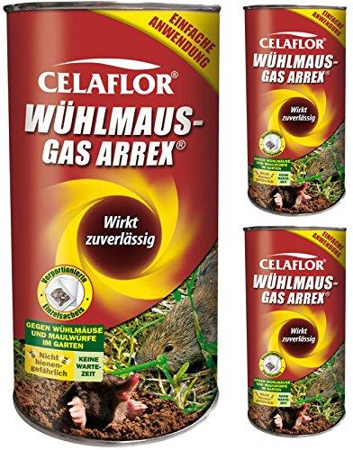 GARDOPIA Sparpaket: 3 x 250 g Celaflor Wühlmaus-Gas Arrex Maulwurf Vergrämungs...