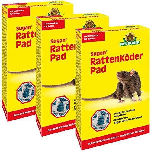 Gardopia Sparpaket: 3 x 400g Neudorff Sugan Rattenköder Pads, hochattraktiver...